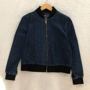 American Apparel medium wash denim bomber jacket